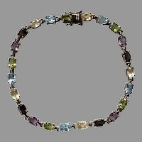 Multi-Gemstone Sterling Tennis Bracelet