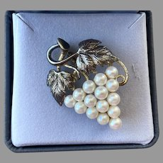 Sterling Silver Gold Vermeil Genuine Pearl Grapes Pin