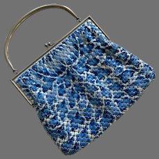Vintage Aluminum Blue & White Enamel Mesh Purse