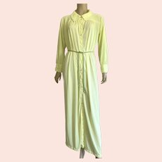 1960's Yellow Nylon Long Robe With Cord Belt Size L