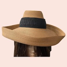 1940's Woven Natural Straw Hat With Black Grosgrain Ribbon