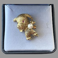 Sterling Silver Gold Vermeil Dog Pin With Genuine Pearl