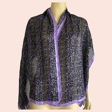 Tanner Silk Oblong Purple Black Scarf