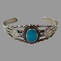 Native American Sterling Turquoise Cuff Bracelet Thunderbirds