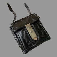 1960's Susan Gail Crushed Black Patent Leather Shoulder Purse Made In Italy
