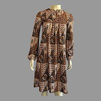 1970's Jonathan Logan Polyester Batik Print Dress Union Label