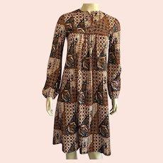 1970's Jonathan Logan Polyester Batik Print Dress Union Label