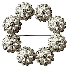 Sterling Marcasite Wreath Pin Signed Artel