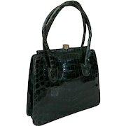 1940's Dark Green Caiman Crocodile Purse Handbag Made In Argentina
