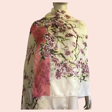 Sheer Polyester Scarf / Shawl Flowers, Leaves, Branches