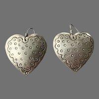 Large Sterling Heart Shaped Dangle Earrings