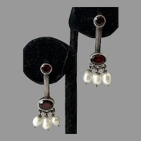 Sterling Garnet Baroque Pearl Pierced Dangle Earrings