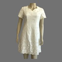 Vintage Creme Short Sleeve Embroidered Eyelet Design Dress