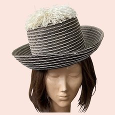 Vintage 1970's Italian Raffia Gray & White Hat With Pom-Pom