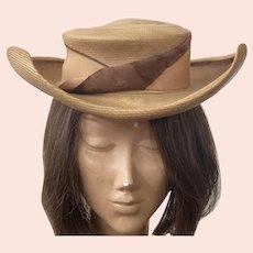 1940's Winner Natural Straw Hat With Grosgrain Ribbon Around Crown