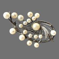 Retro Sterling Genuine Cultured Pearl Pin