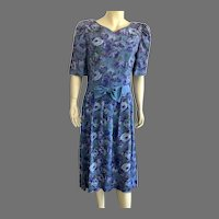 REDUCED 1980's Lanz Originals Purple Blue Floral Shirtwaist Dress Made In USA