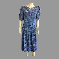 1980's Lanz Originals Purple Blue Floral Shirtwaist Dress Made In USA