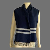 Unisex Lambswool Navy & Gray Scarf Muffler Made In Italy