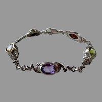 Artist Made Sterling Gemstone Bracelet