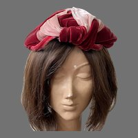 Vintage 1930's Lilly Dache Pink & Burgundy Velvet Toque Hat