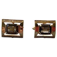 Mid-Century Swank Gold Tone Smokey Quartz  Cuffinks