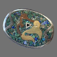 Mexican Sterling Brass Copper Inlaid Stone Pin / Pendant