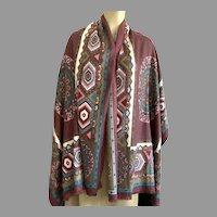Vintage Oriental Rug Pattern Scarf / Shawl