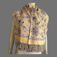 Vintage 1940's Men's Rayon Paisley Scarf Muffler With Silk Fringe