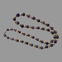 Amethyst & Gold Tone Fluted Beaded Necklace