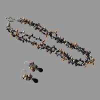 Artist Made Multi Color Dyed Pearl Torsade Necklace & Earrings