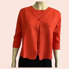 Hand Loomed Tomato Red Sweater Set By Duna Of California