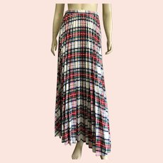 1960's 70's Pleated Plaid Maxi Skirt By New Issues Jonathan Logan