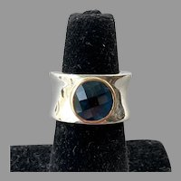 Sterling & 10K Gold London Blue Topaz Ring
