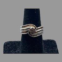 Sterling Silver & Brown Diamond Ring