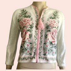1960's Orlon Zip Front Sweater With Roses & Green Leaves
