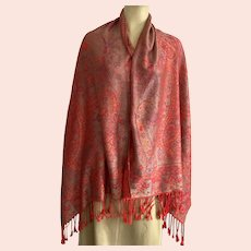 Vintage Red Cashmere Paisley Scarf / Shawl With Fringe