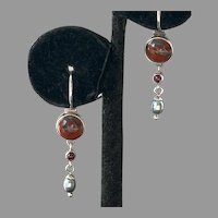 Sterling Red Jasper Garnet Gray Pearl Dangle Earrings