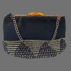 1950's Black Crochet Purse, Black Beads, Gold Lame Thread, Plastic Clasp