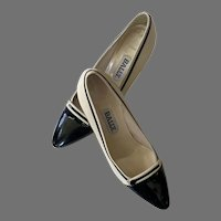 Vintage Bally Cream Leather Black Patent Leather Shoes Made In Italy 8N