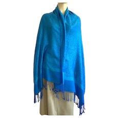 Pashmina & Silk Paisley Scarf / Shawl With Fringe Blue Turquoise