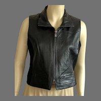 Vintage 1980's Bagatelle Black Leather Vest
