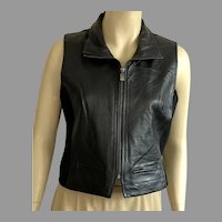 Vintage 1980's Bagatelle Black Leather Vest