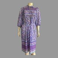 1970's Lorac Original Polyester Floral Boho Peasant Dress
