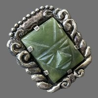 Early Mexican Large Sterling Green Jade Face Mask Pin