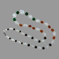 REDUCED  Clear Faceted Crystal & Colored Glass Beaded Necklace