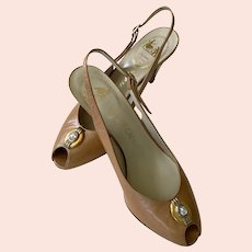 Vintage NOS Delman Slingback Peep Toe Shoes Size 8M Made In Spain
