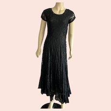 Vintage 1930's Inspired Black Lace Dress Ankle Length