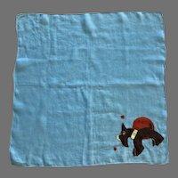 Vintage Blue Linen Hankie With Scottie Dog Applique