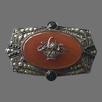 Art Deco Sterling Carnelian Marcasite Pin